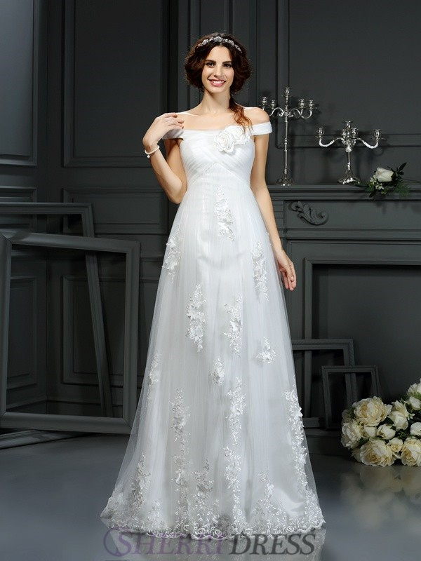 A-Line/Princess Off-the-Shoulder Net Sleeveless Court Train Wedding Dresses