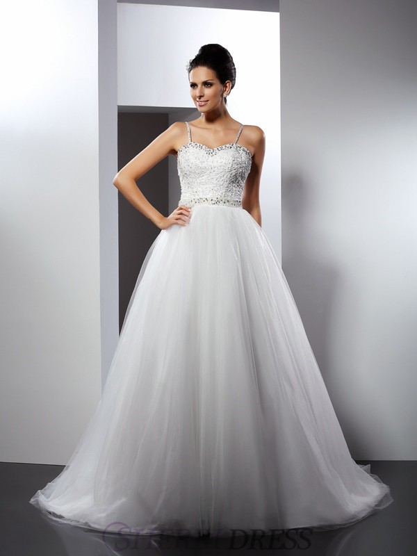A-Line/Princess Spaghetti Straps Tulle Sleeveless Chapel Train Wedding Dresses