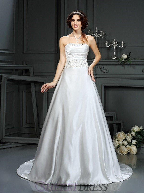 A-Line/Princess Strapless Satin Sleeveless Court Train Wedding Dresses