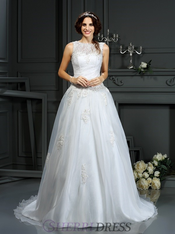 A-Line/Princess Scoop Net Sleeveless Court Train Wedding Dresses