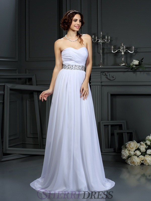 A-Line/Princess Sweetheart Chiffon Sleeveless Court Train Wedding Dresses