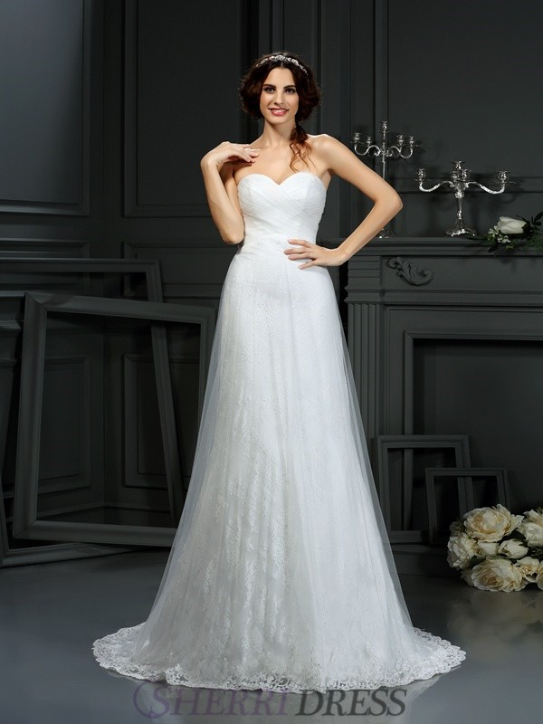 A-Line/Princess Sweetheart Net Sleeveless Court Train Wedding Dresses