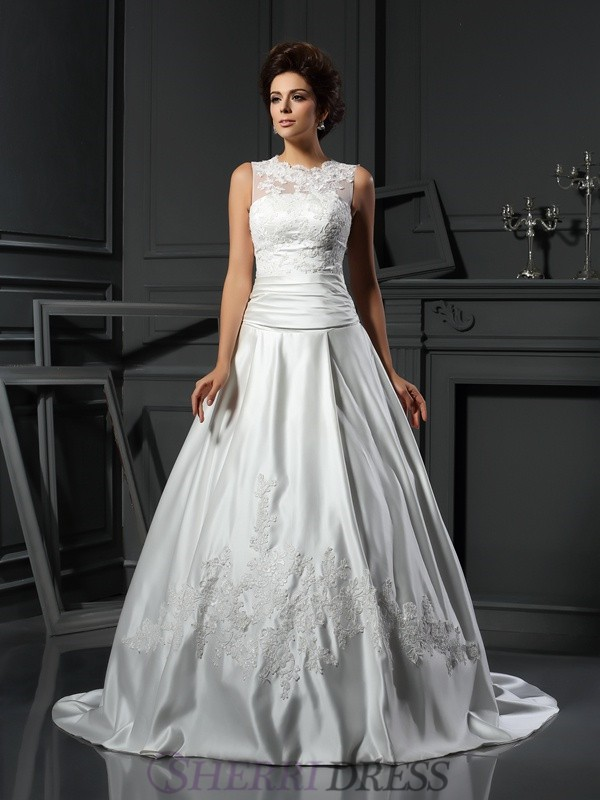 A-Line/Princess High Neck Satin Sleeveless Chapel Train Wedding Dresses