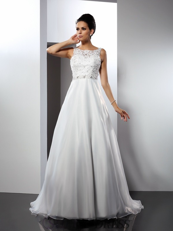 A-Line/Princess Scoop Satin Sleeveless Chapel Train Wedding Dresses