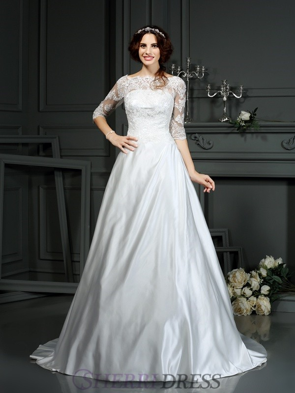 A-Line/Princess Bateau Satin 1/2 Sleeves Court Train Wedding Dresses