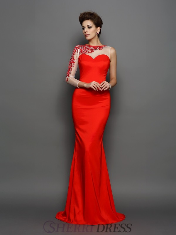 Trumpet/Mermaid High Neck Elastic Woven Satin Long Sleeves Court Train Evening Dresses