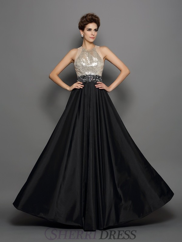 A-Line/Princess High Neck Taffeta Sleeveless Floor-Length Dresses