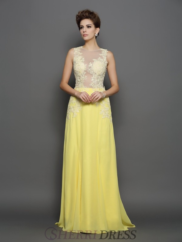 A-Line/Princess Scoop Chiffon Sleeveless Sweep/Brush Train Dresses