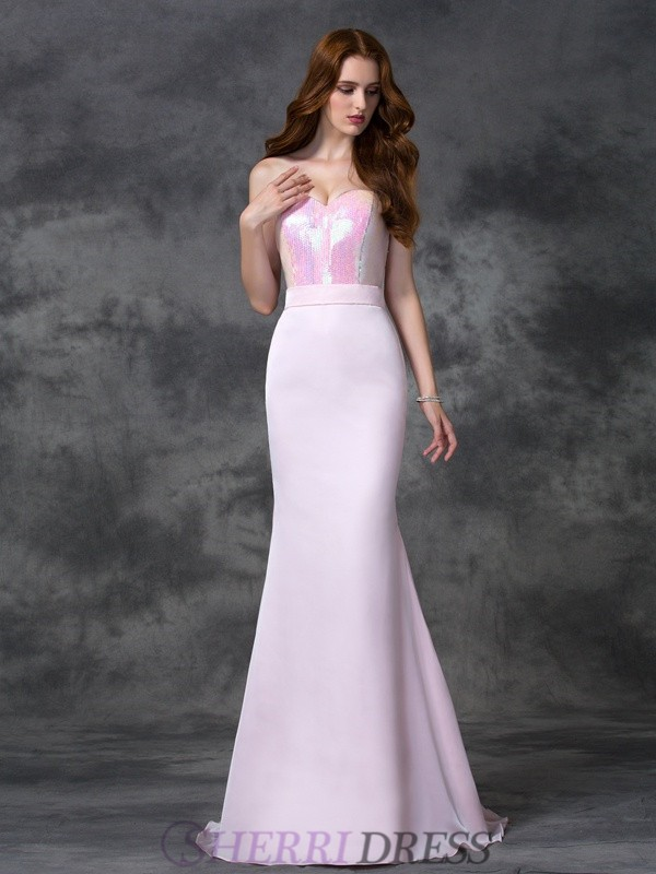 Trumpet/Mermaid Sweetheart Satin Chiffon Sleeveless Floor-length Bridesmaid Dresses