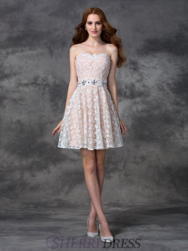 A-line/Princess Sweetheart Lace Sleeveless Short/Mini Cocktail Dresses