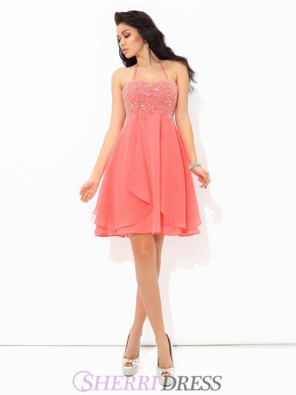 A-Line/Princess Halter Chiffon Sleeveless Short/Mini Cocktail Dresses
