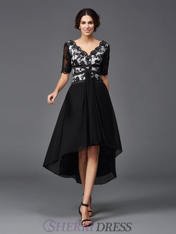 A-Line/Princess V-neck Chiffon 1/2 Sleeves Asymmetrical Cocktail Dresses