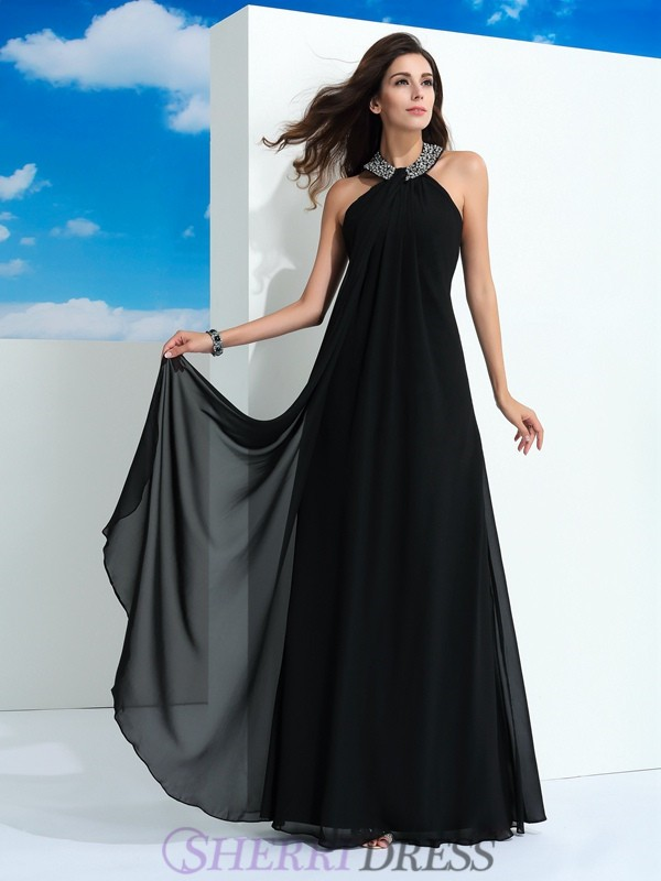 A-Line/Princess Halter Chiffon Sleeveless Floor-Length Evening Dresses