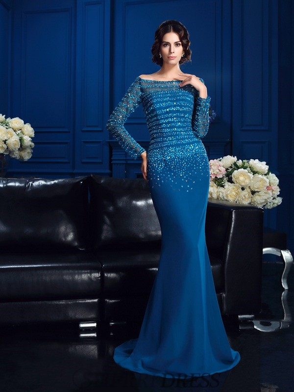 Sheath/Column Off-the-Shoulder Chiffon Long Sleeves Sweep/Brush Train Mother of the Bride Dresses