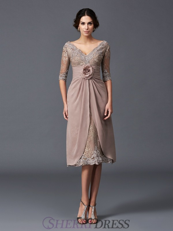 A-Line/Princess V-neck Lace 1/2 Sleeves Tea-Length Mother of the Bride Dresses