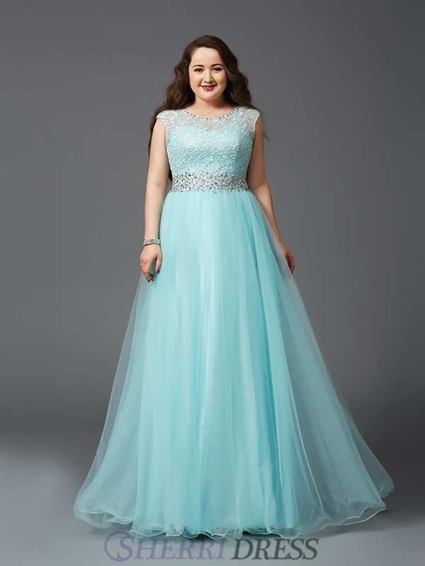 A-Line/Princess Scoop Elastic Woven Satin Sleeveless Floor-Length Plus Size Prom Dresses