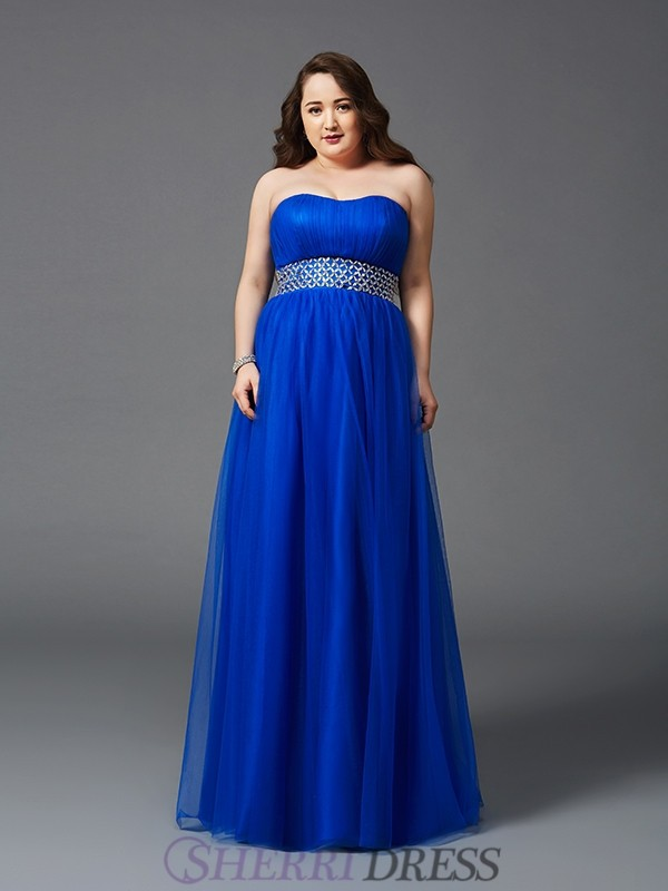 A-Line/Princess Strapless Net Sleeveless Floor-Length Plus Size Prom Dresses