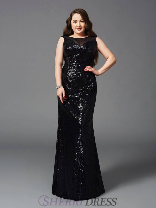 Sheath/Column Scoop Sequin Sleeveless Floor-Length Plus Size Prom Dresses