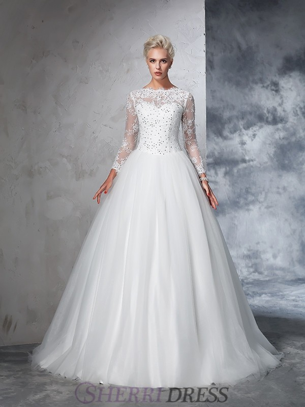 43c4f9f6a6841d Ball Gown Bateau Net Long Sleeves Sweep/Brush Train Wedding Dresses