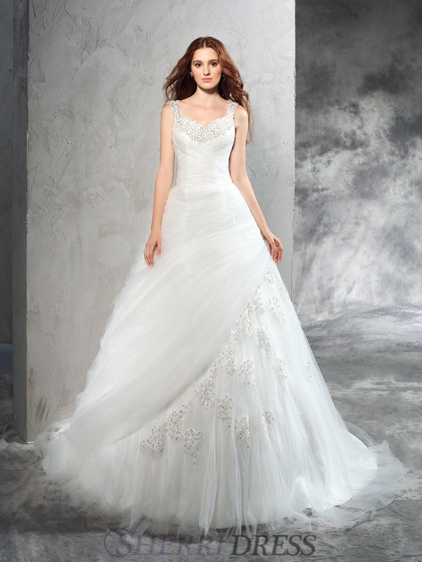 Ball Gown Straps Net Sleeveless Court Train Wedding Dresses