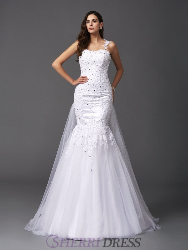 Trumpet/Mermaid Straps Net Sleeveless Sweep/Brush Train Wedding Dresses
