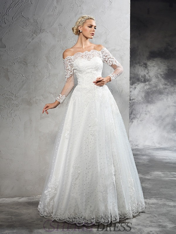 Ball Gown Off-the-Shoulder Net Long Sleeves Floor-Length Wedding Dresses