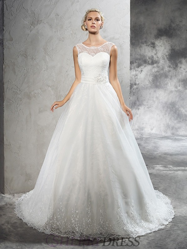 Ball Gown Sheer Neck Net Sleeveless Court Train Wedding Dresses