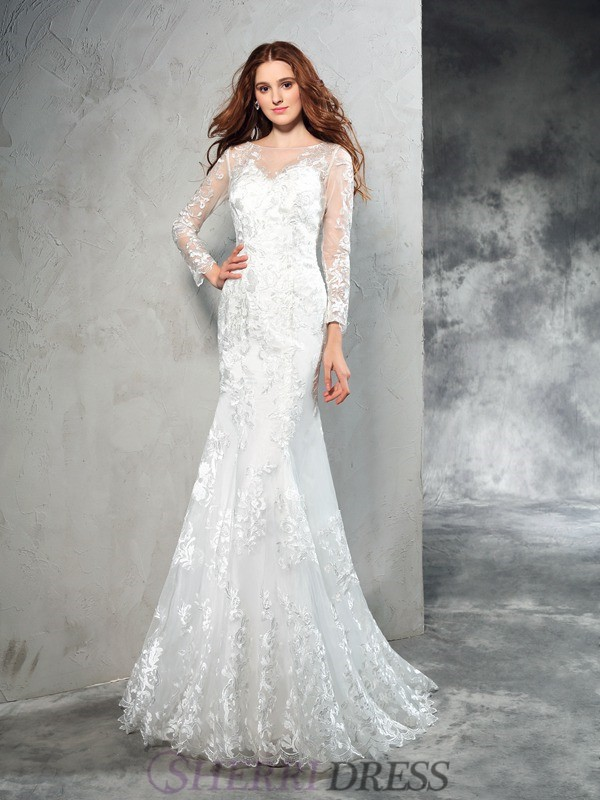 Sheath/Column Sheer Neck Net Long Sleeves Sweep/Brush Train Wedding Dresses
