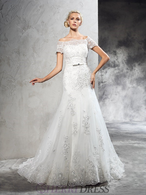 Sheath/Column Off-the-Shoulder Net Short Sleeves Court Train Wedding Dresses