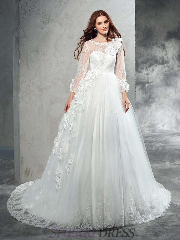 Ball Gown Sheer Neck Net Long Sleeves Court Train Wedding Dresses