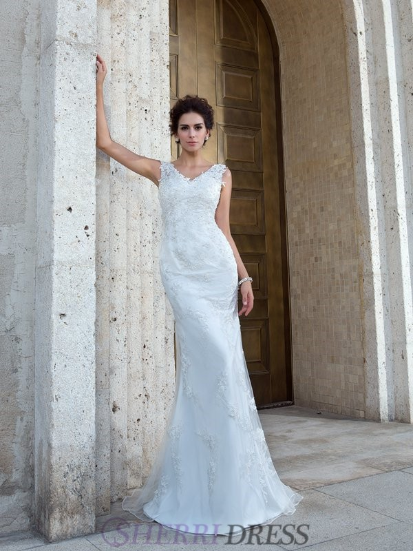 Trumpet/Mermaid V-neck Net Sleeveless Sweep/Brush Train Wedding Dresses