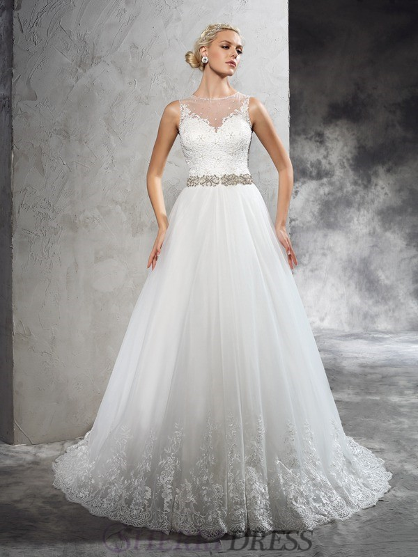 A-Line/Princess Sheer Neck Net Sleeveless Court Train Wedding Dresses