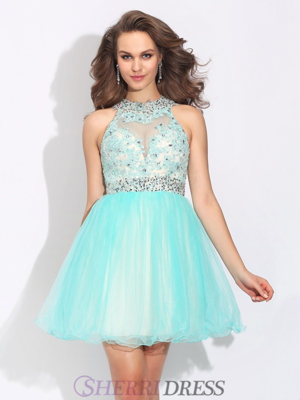 A-Line/Princess High Neck Net Sleeveless Short/Mini Cocktail Dresses