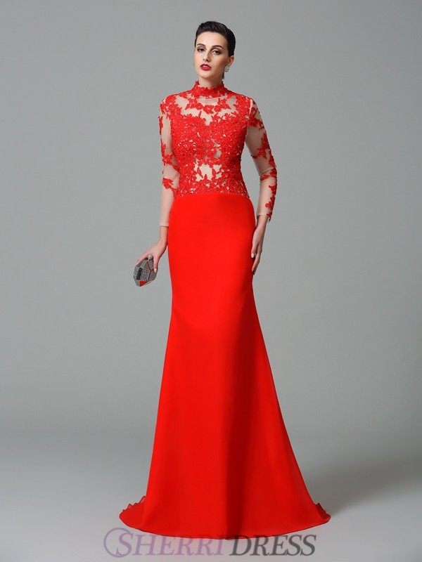 Trumpet/Mermaid High Neck Chiffon Long Sleeves Sweep/Brush Train Evening Dresses