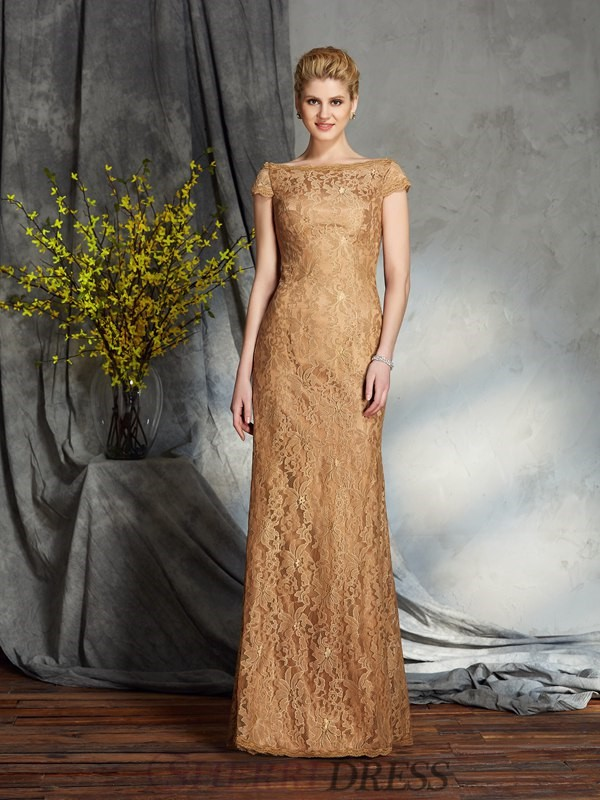 Sheath/Column Bateau Lace Short Sleeves Floor-Length Mother of the Bride Dresses