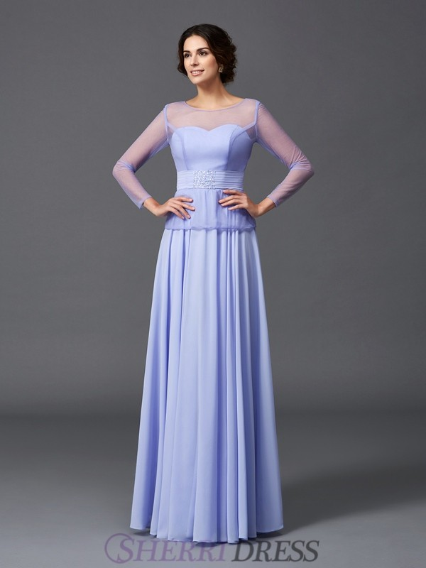 A-Line/Princess Scoop Chiffon Long Sleeves Floor-Length Mother of the Bride Dresses