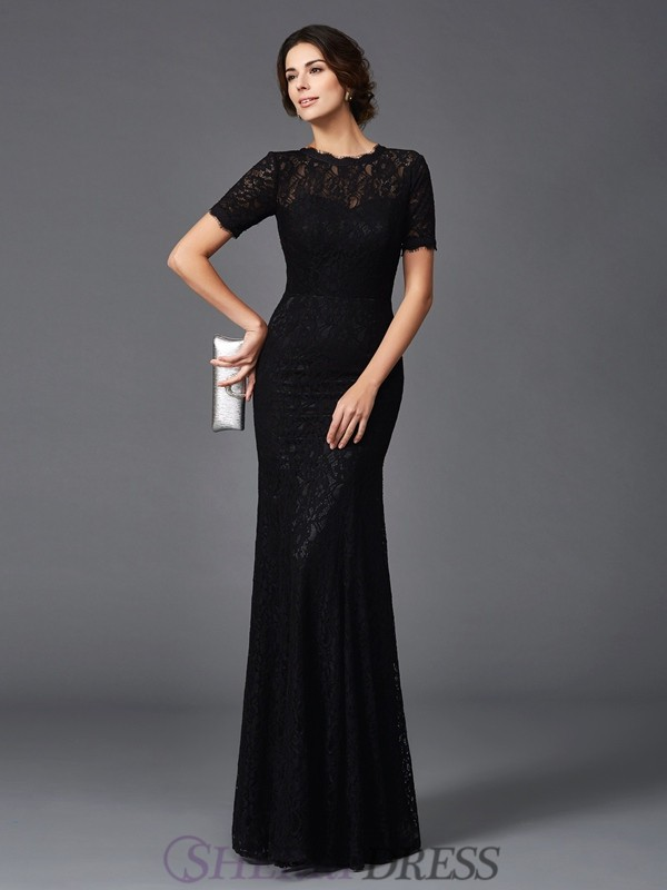 Sheath/Column Jewel Elastic Woven Satin Short Sleeves Floor-Length Mother of the Bride Dresses