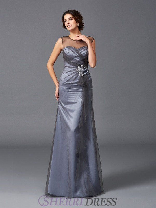 Sheath/Column Scoop Net Sleeveless Floor-Length Mother of the Bride Dresses