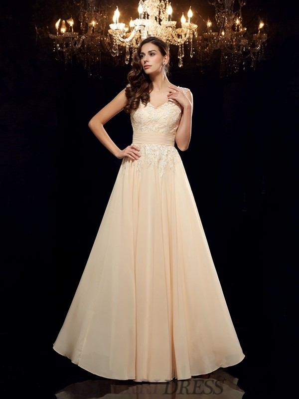 A-Line/Princess Straps Chiffon Sleeveless Floor-Length Mother of the Bride Dresses