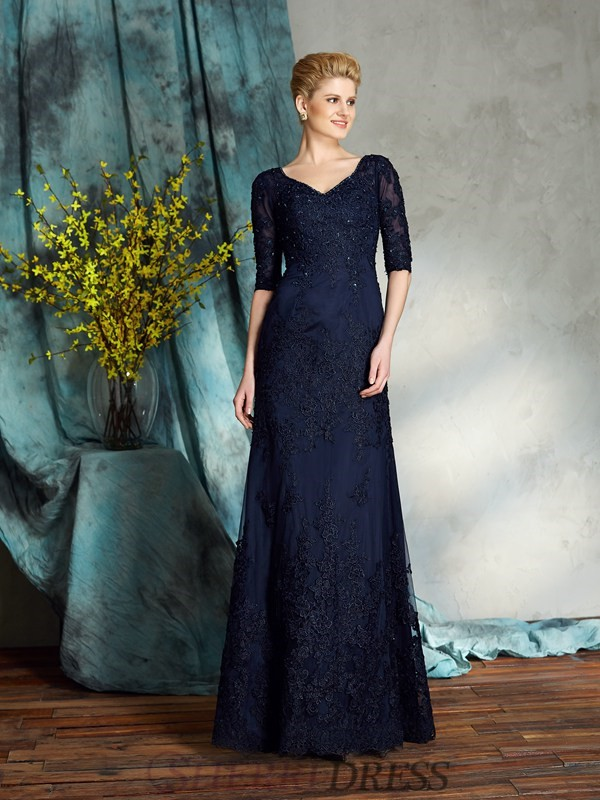 Sheath/Column V-neck Satin 1/2 Sleeves Floor-Length Mother of the Bride Dresses