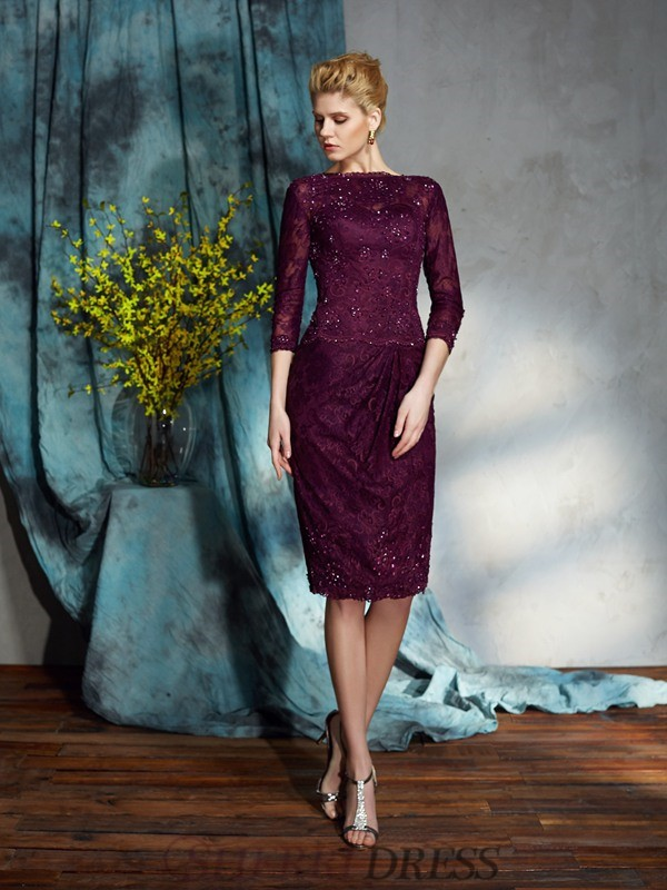 9581095df73 Sheath Column Bateau Lace 3 4 Sleeves Knee-Length Mother of the Bride