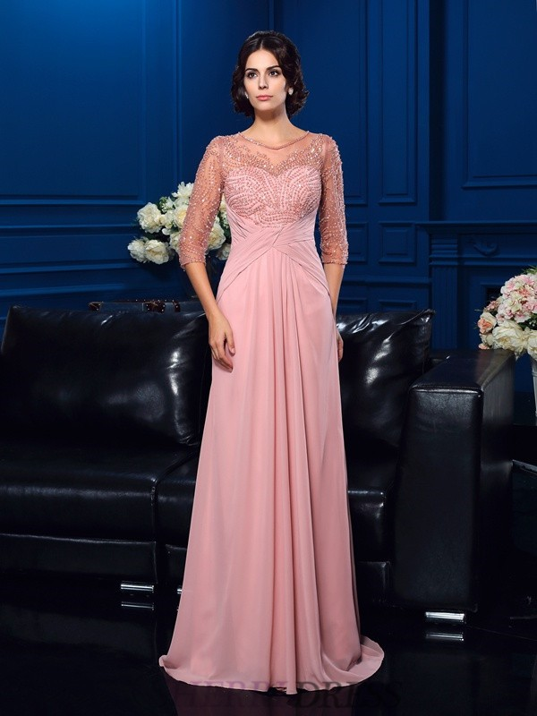 A-Line/Princess Scoop Chiffon 3/4 Sleeves Sweep/Brush Train Mother of the Bride Dresses