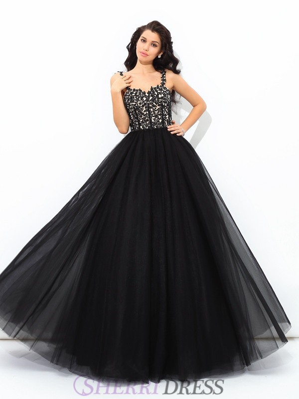 Ball Gown Straps Net Sleeveless Floor-Length Quinceanera Dresses