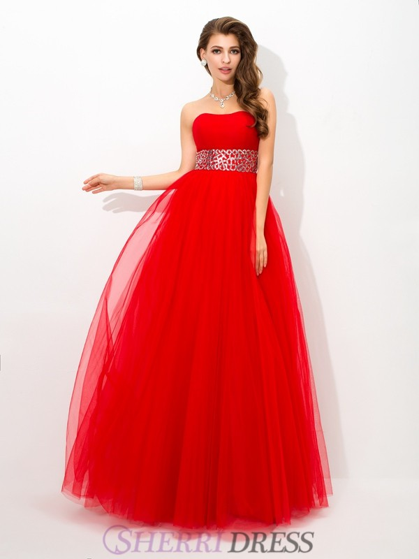 Ball Gown Strapless Net Sleeveless Floor-Length Prom Dresses