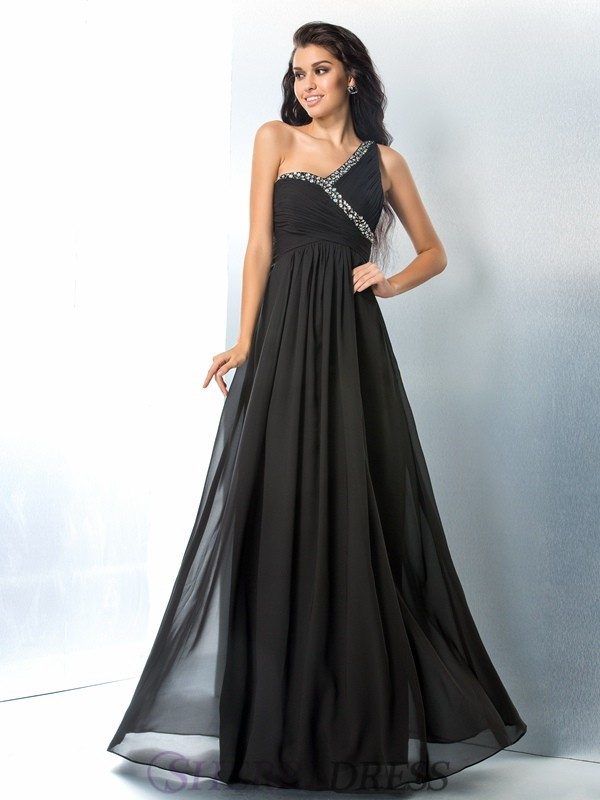A-Line/Princess One-Shoulder Chiffon Sleeveless Floor-Length Prom Dresses