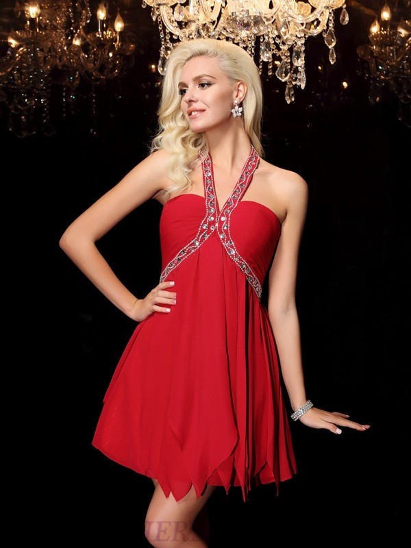 A-line/Princess Halter Chiffon Sleeveless Short/Mini Prom Dresses
