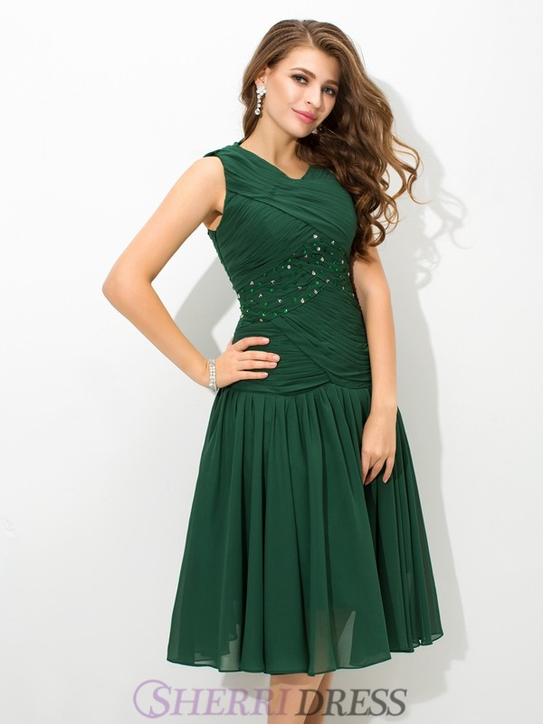 A-Line/Princess Scoop Chiffon Sleeveless Knee-Length Prom Dresses