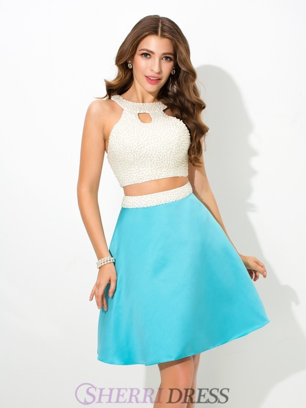 A-Line/Princess Jersey Satin Sleeveless Short/Mini Two Piece Prom Dresses