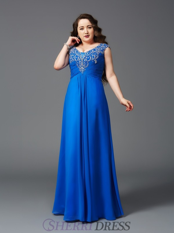 A-Line/Princess Straps Chiffon Short Sleeves Floor-Length Plus Size Prom Dresses