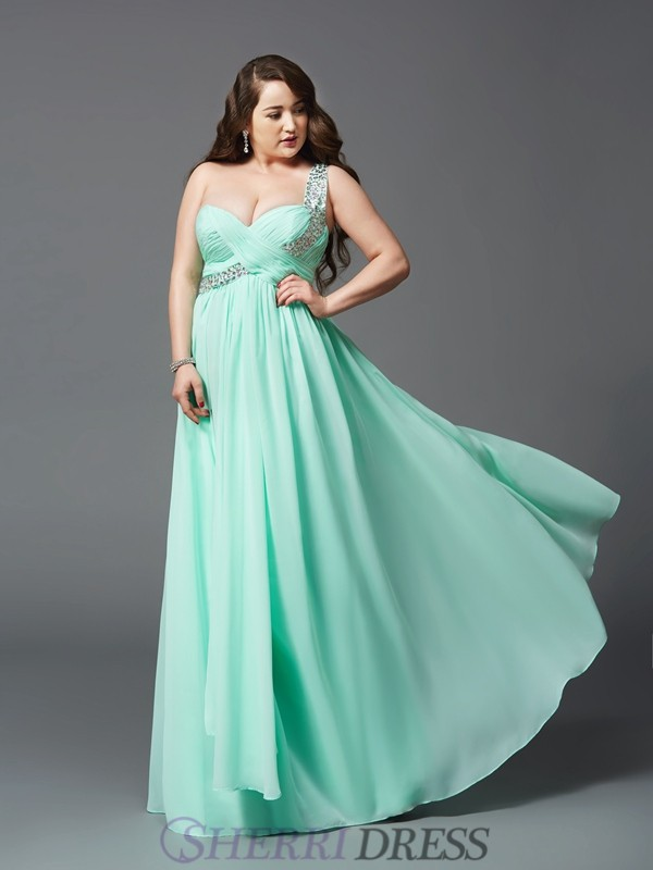 A-Line/Princess One-Shoulder Chiffon Sleeveless Floor-Length Plus Size Prom Dresses